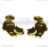 Ciondolo Stregatto in metallo Gold Plated 29x17mm