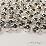 10 perle in metallo silver plated 6mm