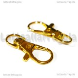 Gancio Portachiavi in metallo gold plated 37x16mm